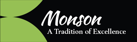 Black background, green accent - text: Monson: A Tradition of Excellence