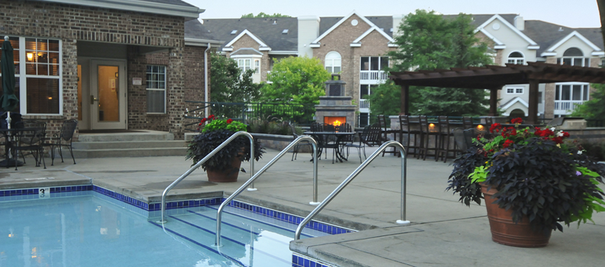 Pool Fireplace and Grill in Apartment common areas