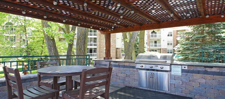 Outdoor kitchen in apartment common areas